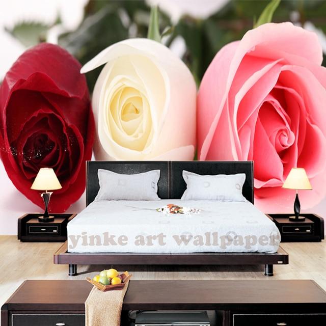 3D fototapete 3d seide rote Rose blumen wohnzimmer sofa ...