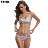 Riseado Sexy Bikini Women 2017 Cross Bandage Swimwear Brazilian Bikini Set Swimsuit Biquini Summer Bathing Suits