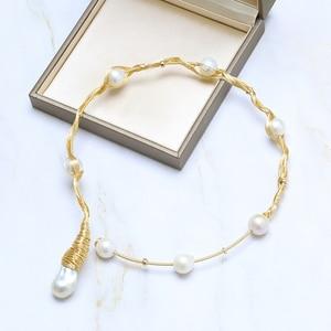 Image 2 - Collier ras du cou de perles multiples fait main BaroqueOnly 1 grande perle 7 perles rondes collier de perles deau douce Vintage
