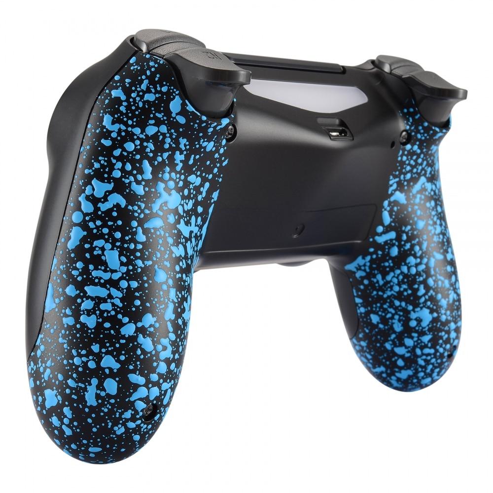 For PS4 &Slim&Pro Controller Textured Blue Non-slip Back Shell 3D Splashing Case JDM-040 JDM-050