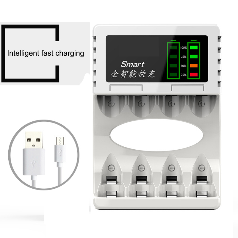 4 Slots Power Display Fast Battery Charger with USB Input Intelligent power off For AA AAA NiMh NICD Rechargeable Batteries