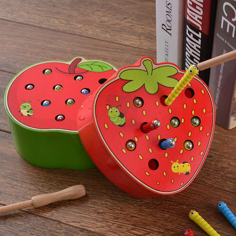 Montessori Education Wooden Kid Matching Toys 3D Puzzle Math Strawberry Apple Magnetic Stick Catch Worm Fishing Interactive Game(China)