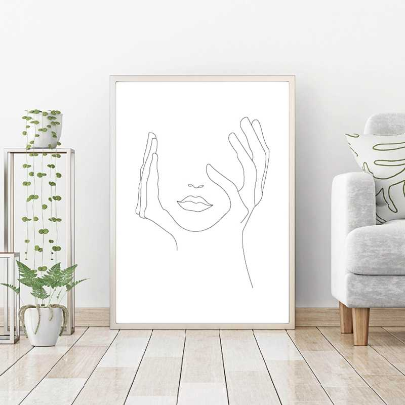 Hands On Face Lips Wall Art Canvas Posters Prints Sketch Art Line Drawin Painting Minimalist Woman Wall Picture Home Decoration