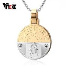 Vnox Cáncer Doce Constelaciones Del Collar Colgante de Oro y Plata Chapado En Acero Inoxidable de Los Hombres/de Las Mujeres