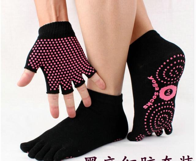 Envío gratis 2 par/lote ( 1 par Yoga calcetín y 1 par de Yoga guante ...