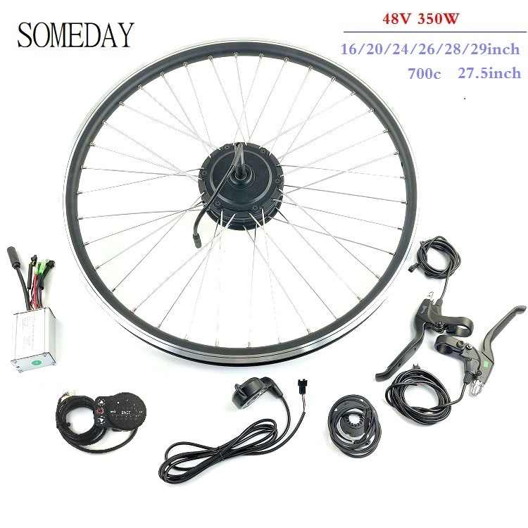 SOMEDAY 48V350W electric bicycle conversion kit 16 20 24 26 27.5 28 700C 29 rear rotate wheel hub motor with spoke and rim