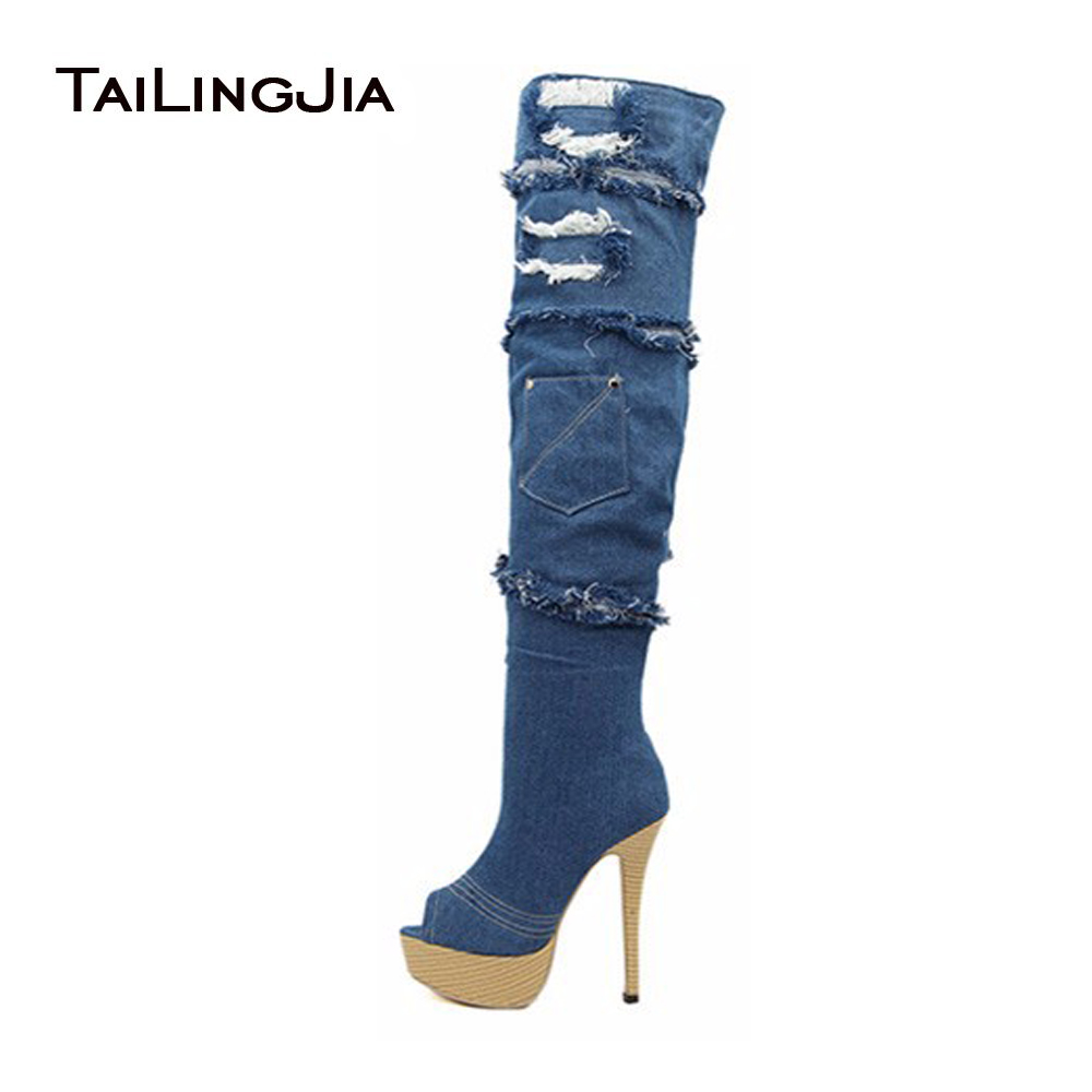Women Blue Ripped Denim Boots Platform Thigh High Boots Peep Toe High Heel Fringe Over The Knee High Boots Stiletto Long Boots stylish mid waist cuffed denim ripped shorts for women