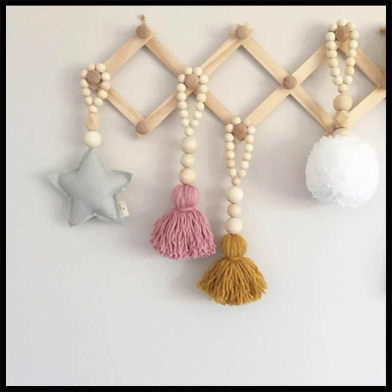 Nordic Wooden Beads Decoration Crafts Kids Room Play Game Tents Decorative Photography props Tassel Hanging Tent Decoration