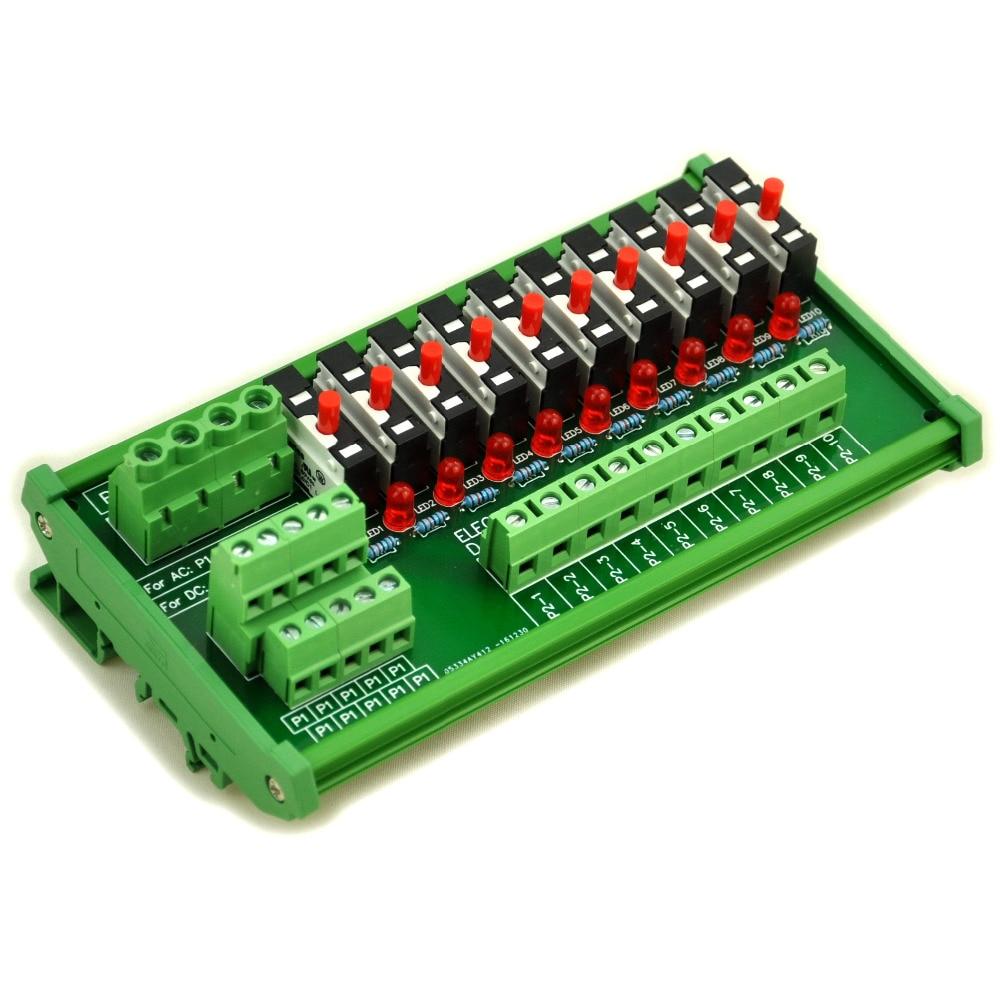 DIN Rail Mount 10 Position Thermal Circuit Breaker Power Distribution Module.