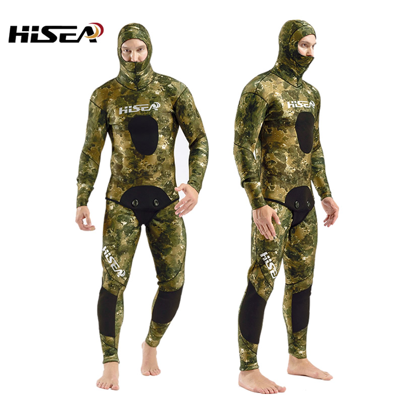 7mm Neoprene Camouflage Deep Diving Coat Professional Fishing Hunting Clothes Diving Suit Split Wetsuit Underwater Hunting Scuba