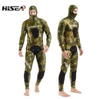 Мм 7 мм неопрен камуфляж глубокий костюм для дайвинга professional Рыбалка Охота Одежда Дайвинг костюм раздельный гидрокостюм Подводные Охота По