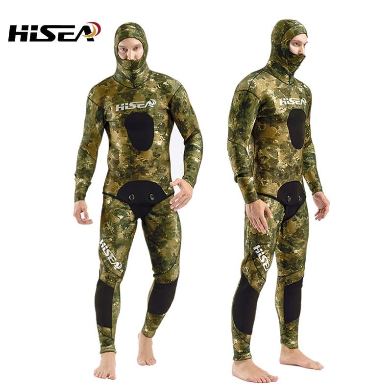7mm néoprène camouflage plongée profonde manteau professionnel Pêche chasse vêtements combinaison de plongée Split combinaison de Chasse Sous-Marine de Plongée