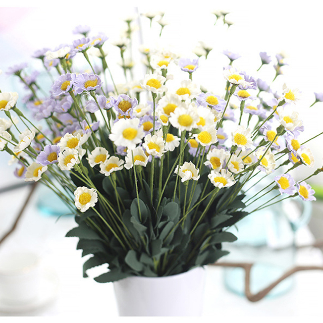 Lovely PE Daisy 5 Colors Mini Yellow Daisy Artificial Flower Bouquet Wedding Party  Table Decorations Home Decor