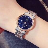 Men Women Watches Rose Gold Luxury Rhinestone Blue Dial Quartz Watch Clock Unisex Stainless Steel Bracelet