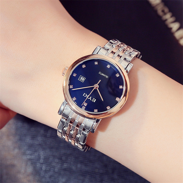 Men Women Watches Rose Gold Luxury Rhinestone Blue Dial Quartz Watch