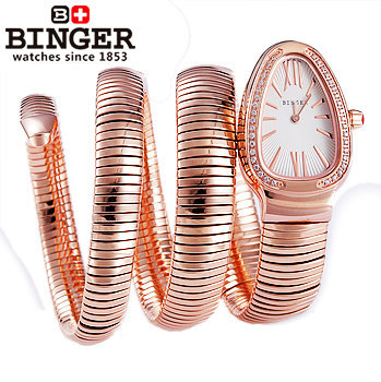 Hot sale Binger fashion Ruby watch beautiful CZ diamond jewelry Golden snake crystal Steel strap women Rhinestone quartz watches