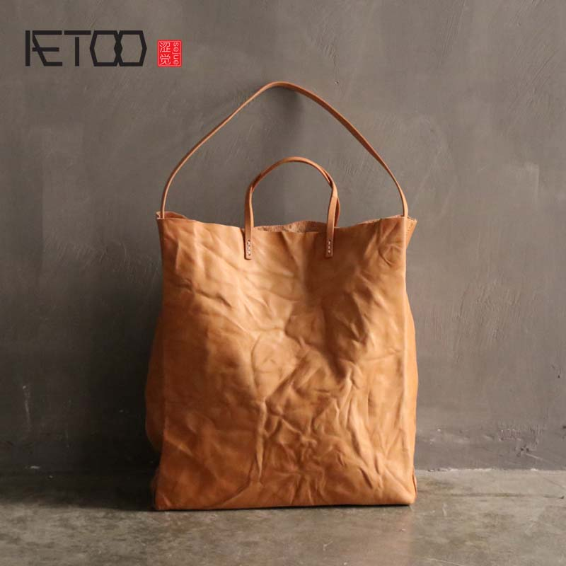 AETOO New handmade genuine leather handbag women retro shoulder bag hand grab pleated vegetable tanned leather large tote bag aetoo spring and summer new leather handmade handmade first layer of planted tanned leather retro bag backpack bag