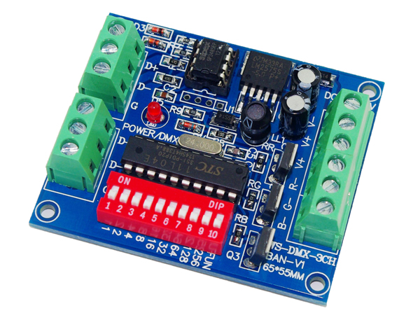 10 kusů doprava zdarma 3 kanálový DMX512 RGB ovladač snadný 3CH DMX512 dekodér DC5-24V vstup na každý kanál max. 15A