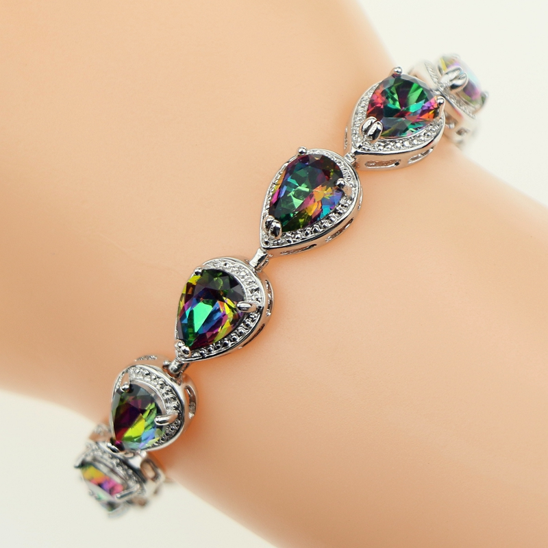 Bridal Mystic Rainbow Fire Created Zircon 925 Sterling Silver Jewelry Water Drop Link Chain 18 20cm Bracelet For Women Free Box