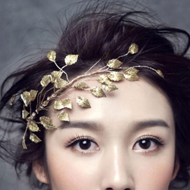 oro color de la hoja de la boda adornos cabello accesorios nupciales del pelo vid piezas