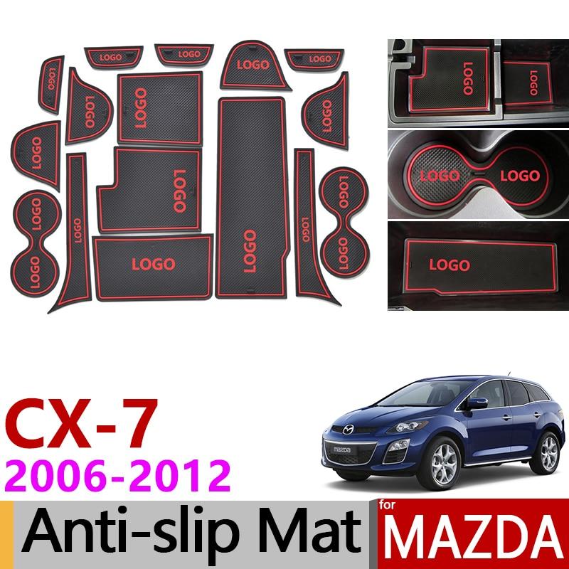 Anti-Slip Gate Slot Mat Rubber Coaster for Mazda CX-7 2006 2007 2008 2009 2010 2011 2012 CX7 CX 7 Accessories Car Stickers 16Pcs
