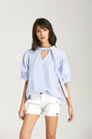2017 Blusas Short Sleeve Blouse Halter V Neck Fashion Women Tops Female Vintage White Shirt Blusa