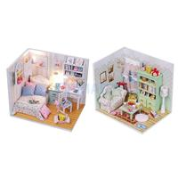 DIY 3D Wooden Handcraft Miniature Doll House Kit Bedroom with LED Lights & Furniture Adalelle's Room & Family Hall