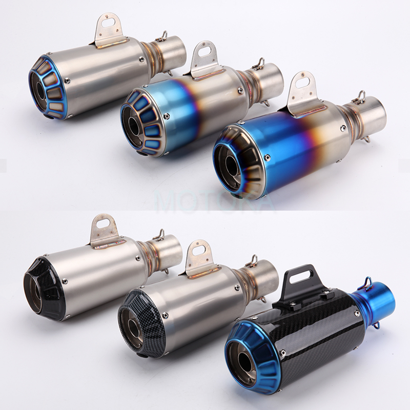 Universal Inlet 51mm Motorcycle Exhaust Pipe Stainless Steel ER6N ZX10R ZX6R Z1000 CBR300 R15 R6 Akrapovic Racing Muffler Escape