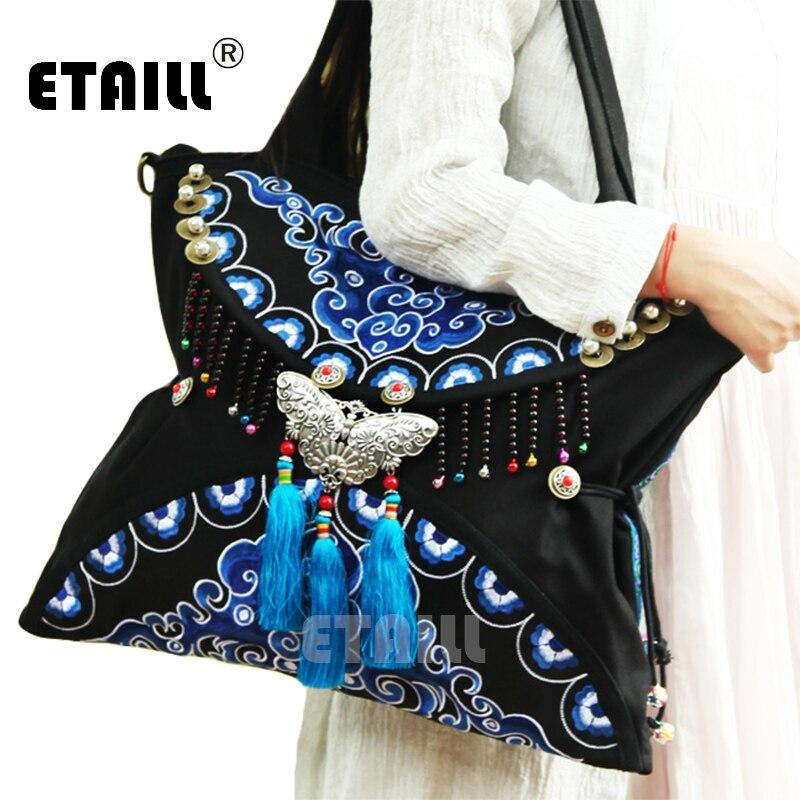 2016 doble cara Boho Hobo Hmong étnico bordado Shoppers bolso indio bordado famosa marca Logo bolsos saco a Dos Femme-in Bolsos de hombro from Maletas y bolsas    1
