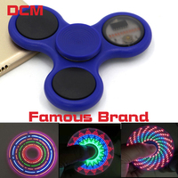 2017 Fidget spinner Tri-Spinner LED Hand Spiners Fidget Plastic EDC button Finger spiner Autism Relief Anxiety Stress kids Toys