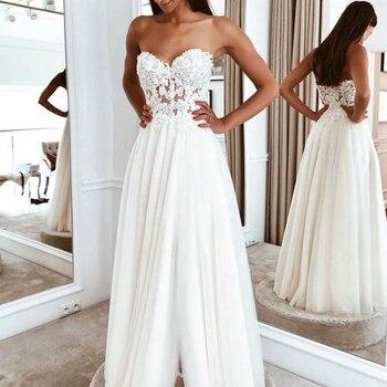 Elegant Lace Appliqued Tulle Sweetheart Wedding Dresses Side Slit Floor Length Wedding Gowns 2019 vestido noiva praia