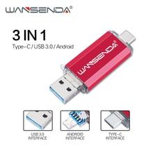 Wansenda OTG 3 in 1 USB 플래시 드라이브 USB3.0 및 Type C 및 마이크로 USB 512GB 256GB 128GB 64GB 32GB 16GB Pendrives 펜 드라이브 Cle USB