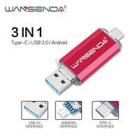 Wansenda OTG 3 in 1 USB Flash Drives USB3.0 & Type-C & Micro USB 256GB 128GB 64GB 32GB 16GB Pendrives Dual Pen Drive Cle USB