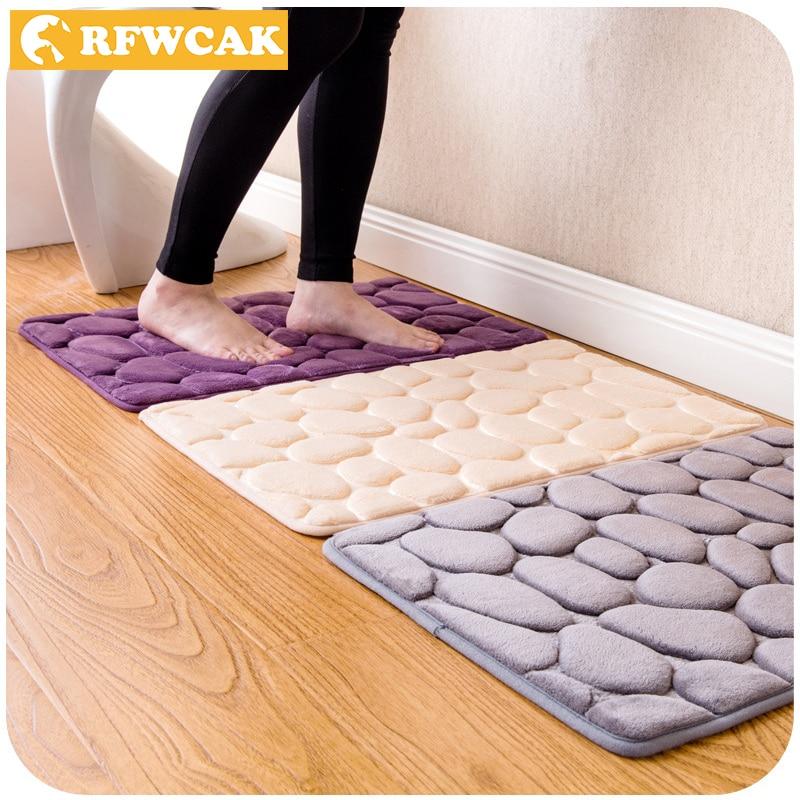 RFWCAK Bulu Karang Kamar Mandi Memori Busa Karpet Kit Toilet Pola Mandi non-slip Lantai Tikar Set Kasur untuk Dekorasi Kamar Mandi