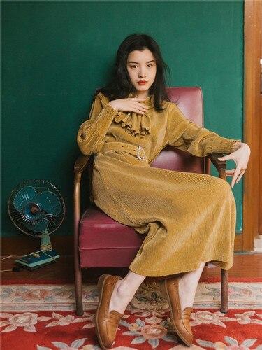 Printemps nouveau Style femmes robe a-ligne solide lanterne manches Vestido cheville-longueur or velours femmes robes avec ceintures