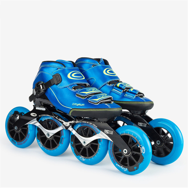 6-layers Carbon Fibre CITYRUN Professional Inline Speed Skates Shoes 7000 Alloy CNC Frame 85A 110mm Skating Wheel 2017 Roller CT