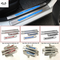 Free shipping 4pcs/lot car accessories stainless steel scuff plate door sill pedal for 2018 KIA RIO X LINE