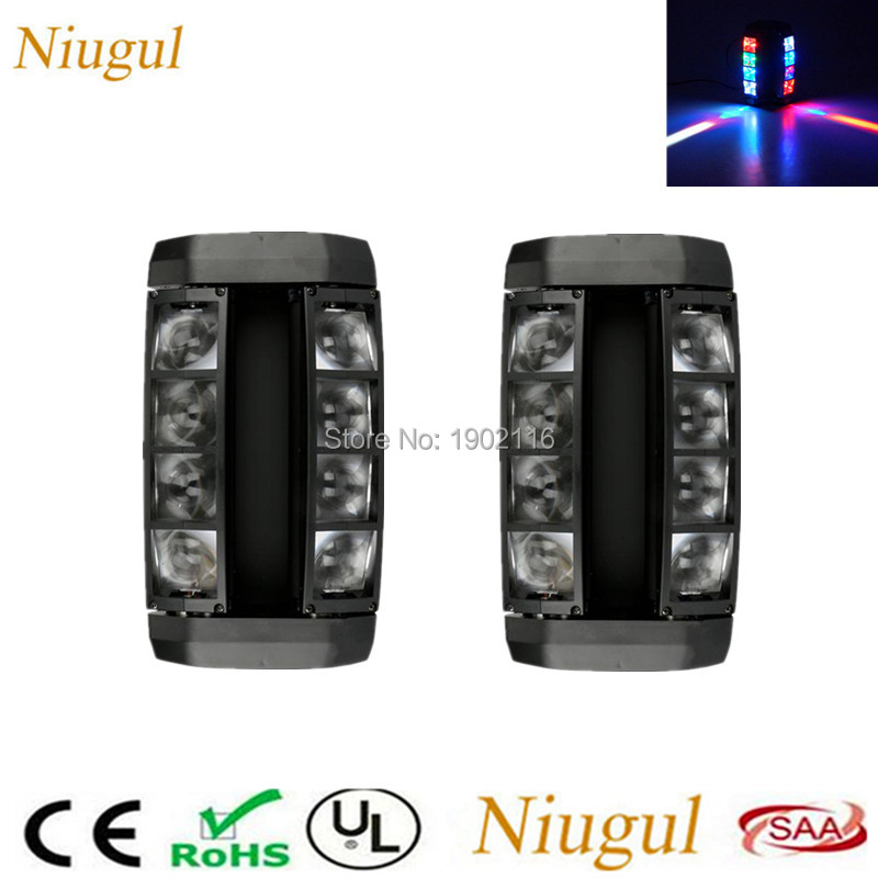 2pcs/lot 8X10W Mini Led Spider Lights RGBW LED Beam Moving head light DMX512 club dj disco stage effect lighting party LED lamp 2pcs lot led moving head light high quality 8 10w rgbw 4in1 spider beam dj party ktv club light stage effect lighting