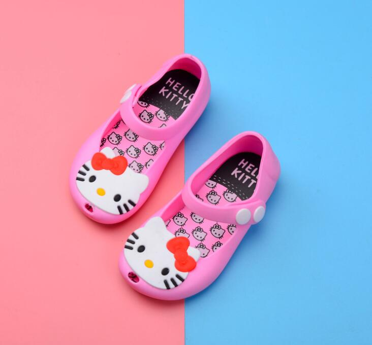 2018 Mini Melissa Hello Kitty child shoes Princess Jelly Shoes Butterfly Knot Soft Bottom Fish Head Girls Sandals Baby flat Shoe