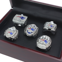 5 Pcs Set2001 2003 2004 2014 2017 Patriots For Replica Champion Rings Set Wooden Box