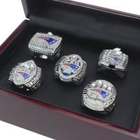 5 Pcs Set2001 2003 2004 2014 2017 Patriots For Replica Champion Rings Set Wooden Box