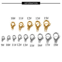 20pcs/lot 9-19mm Full Size 100% Real Stainless Steel Lobster Clasp Wholesale Finding Jewelry Supplies