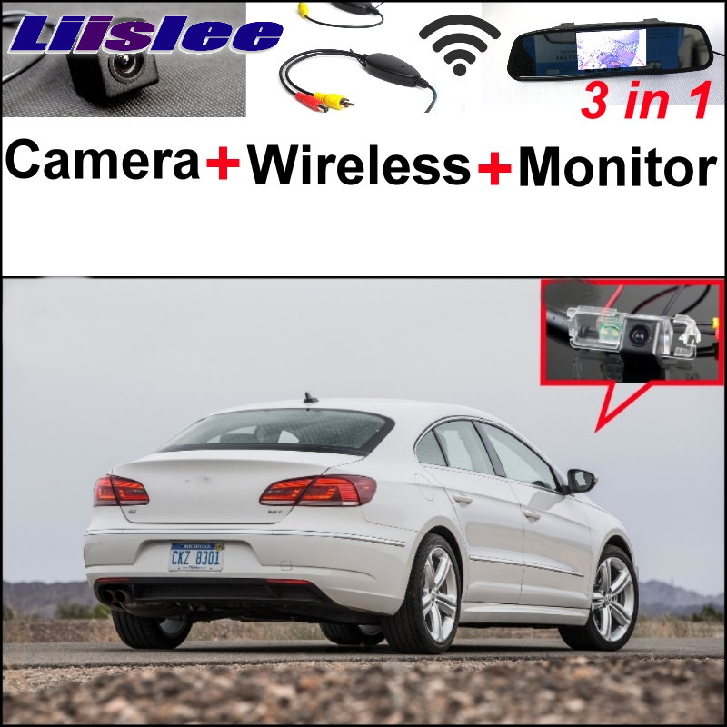 Liislee 3 in1 Special Rear View Camera + Wireless Receiver + Mirror Monitor Easy DIY Parking System For VW Volkswagen Passat CC liislee for renault samsung qm5 3 in1 special rear view camera wireless receiver mirror monitor easy back parking system