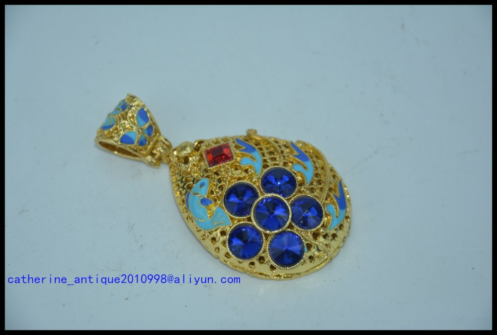Rare old Chinese cloisonne gold&Beeswax and gemstones Pendant,#02, free shippingRare old Chinese cloisonne gold&Beeswax and gemstones Pendant,#02, free shipping