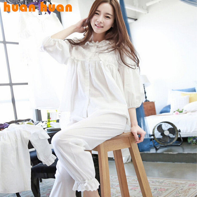 Primavera nova versão Coreana apresenta fresco tuxedo estilo Lady lace pijamas ternos de algodão casuais