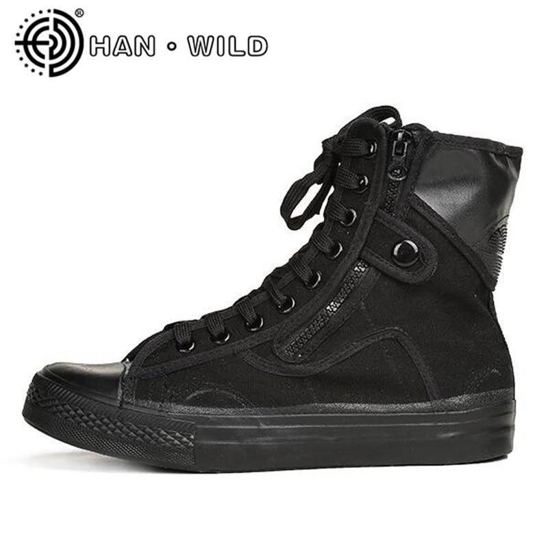 Todos os Sapatos de Lona Preto ao ar Botas de Combate Rendas até Tornozelo Botas de Motocicleta Livre Masculino Trabalho Segurança Sapatos Botas Masculinas Tamanho Grande 46 &