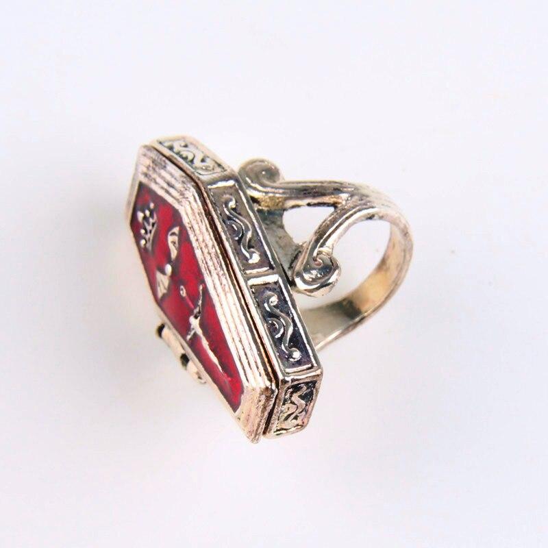 Vintage Women Rings Alloy Cross Jesus Coffin Box Finger Rings Retro Finger Decoration Fashion Women Jewelry 4D3005