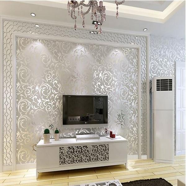 grau silber tapete schlafzimmer wohnzimmer sofa hintergrundbild in ... - Wohnzimmer Grau Silber