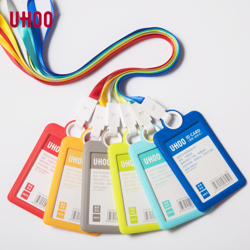 UHOO New Silicone Card Holder Waterproof Dustproof Durable Name Badge Holders Name Tag Office Stationery Id Badge Holder