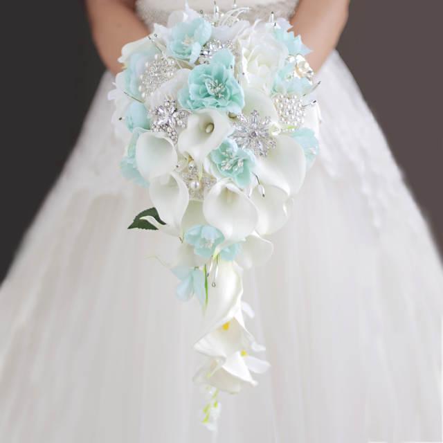 Blue Flower Calla Lily Wedding Bouquet Waterfall Romantic Designer
